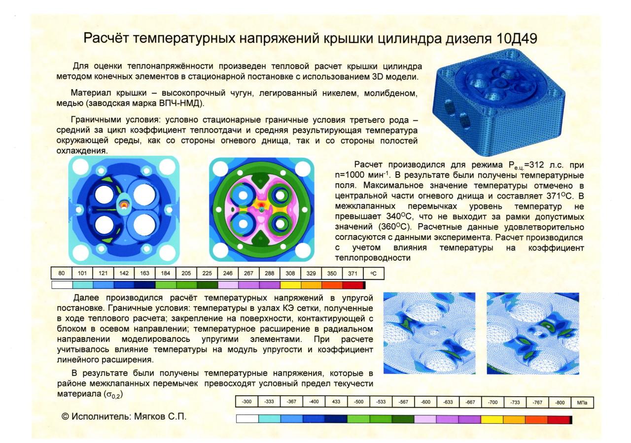 Расчет температурных напряжений крышки цилиндра