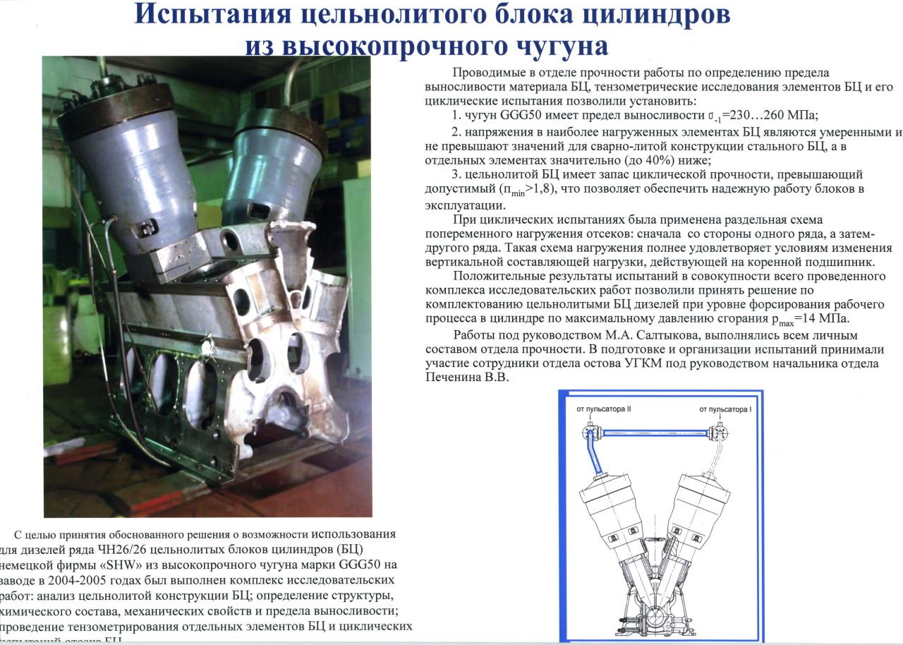 Испытания цельнолитого блока цилиндров из высокопрочного чугуна