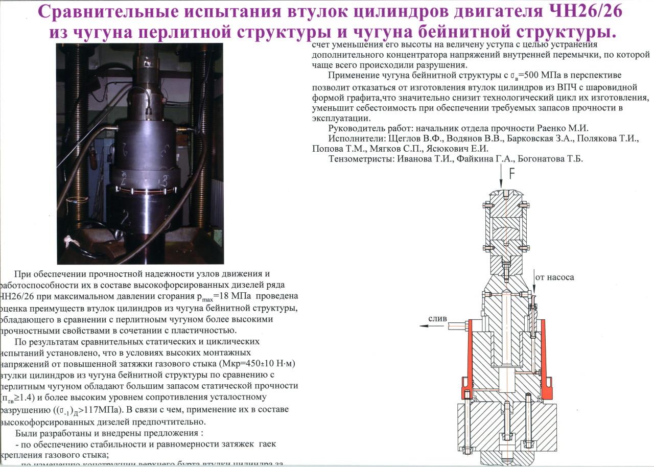 Сравнительные испытания втулок цилиндров двигателя ЧН26/26 из чугуна перлитной структуры и чугуна бейнитной структуры