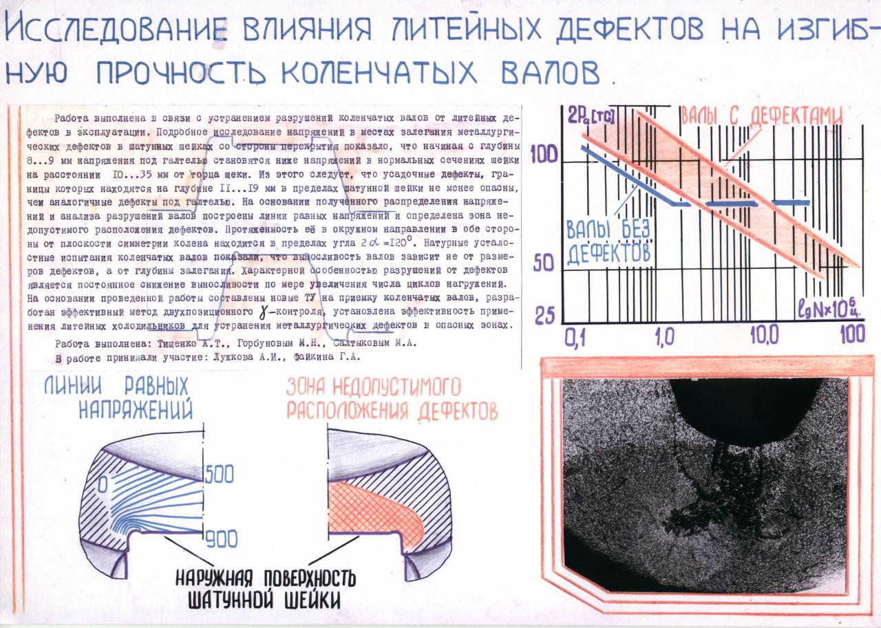 Исследование влияния литейных дефектов на изгибную прочность коленчатых валов