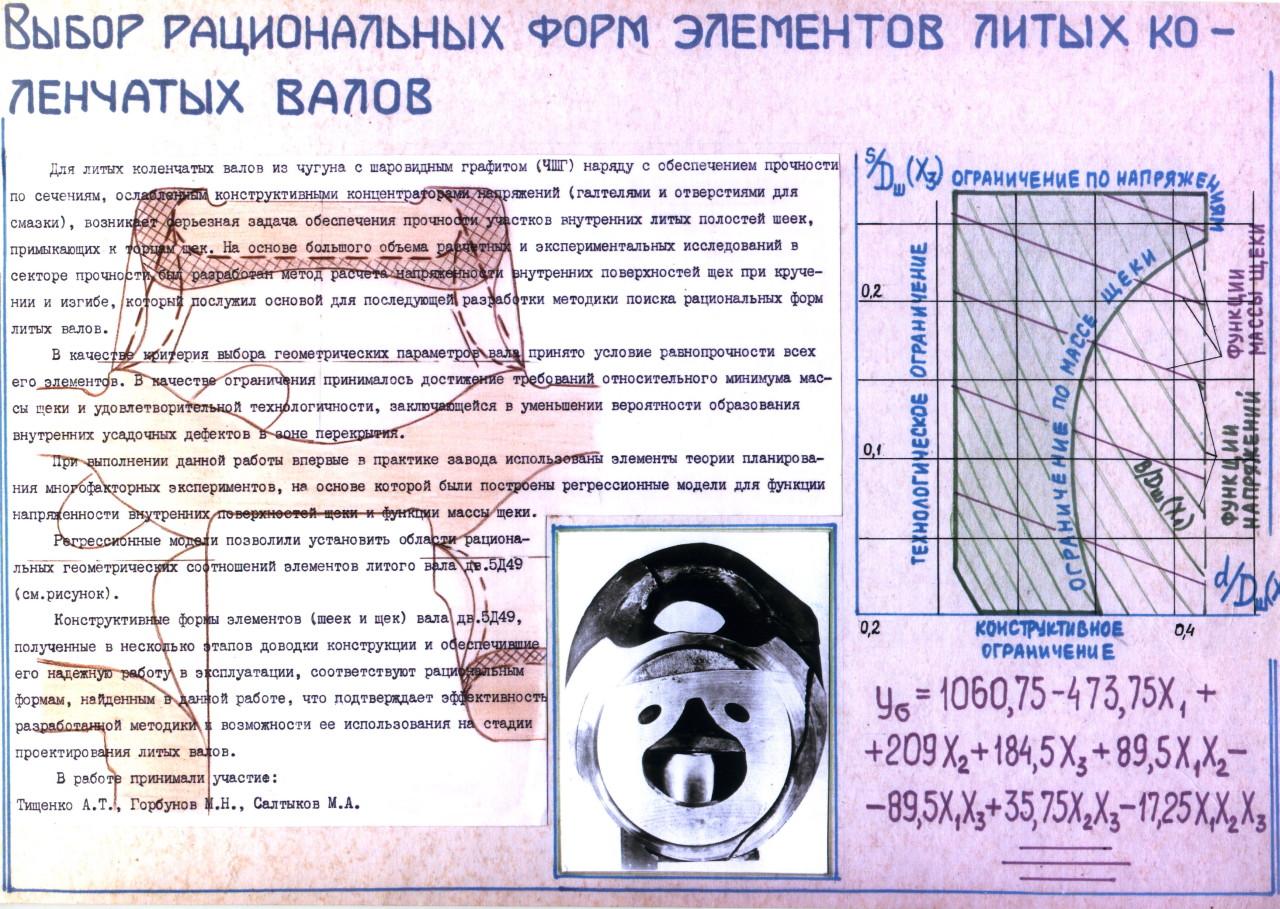Выбор рациональных форм элементов литых коленчатых валов